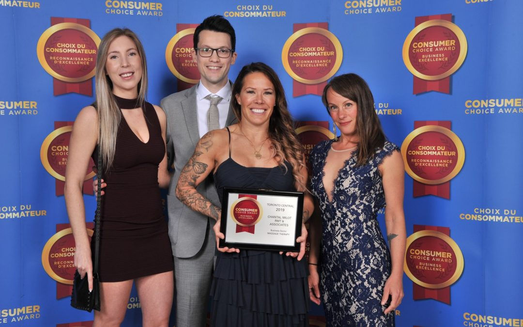 Chantal Milot RMT and Associates is Proud to Have Been Awarded  The Consumers Choice Award for the Massage Therapy Category, for Toronto Central!